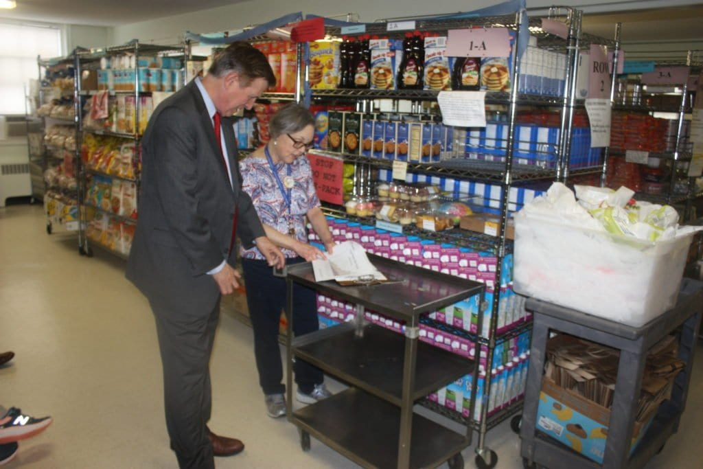 U.S. REP. DON BEYER included among the Falls Church entities he visited today the food bank at the Columbia Baptist Church's satellite church in the Culmore section of greater Falls Church, where appalling poverty exists according to church officials. In other stops on Beyer's tour today, he visited the Viget Labs, the New Editions, the Columbia Church pantry and the robotics program at Falls Church High School. (Photo: News-Press)