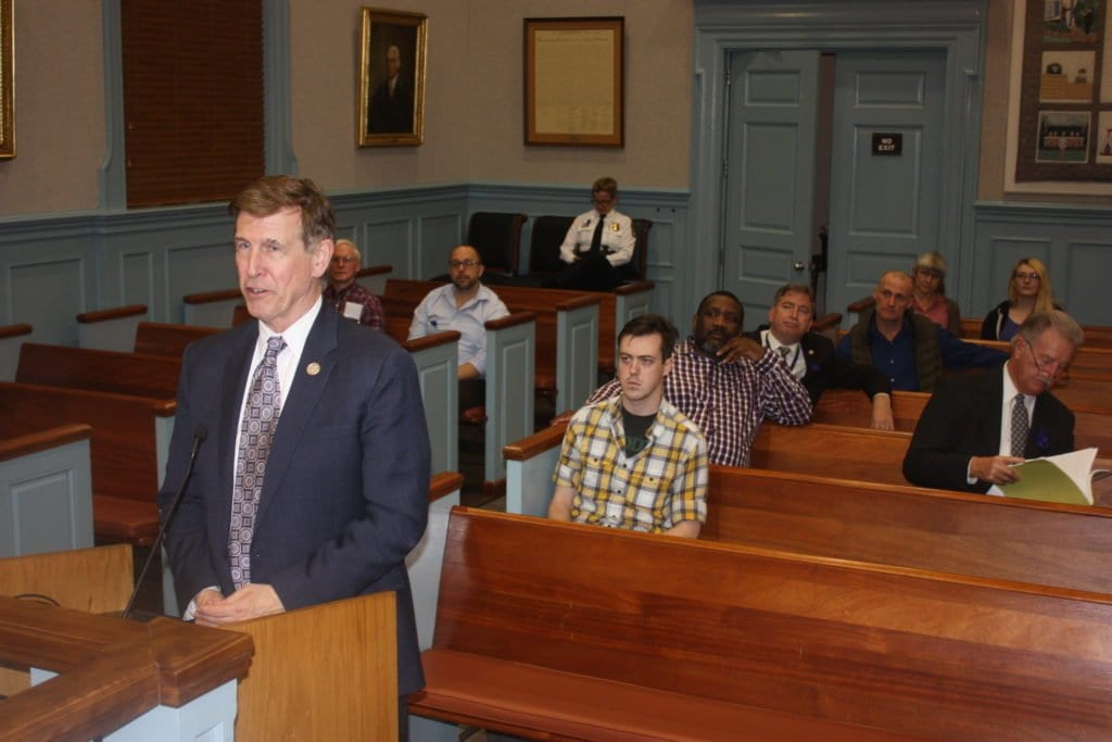 U.S. REP. DONALD S. BEYER JR., who represents the 8th District of Virginia that includes the City of Falls Church, visited the Falls Church City Council to caution them on the impact of President Trump's budget proposals, as well as his impact on immigration, with 37 percent of the people in his 8th District speaking a language other than English. While Trump wants $54 billion more for defense, the money is coming from everywhere else in the government, including a 31 percent cut in the Environmental Protection Agency.  (Photo:  News-Press)