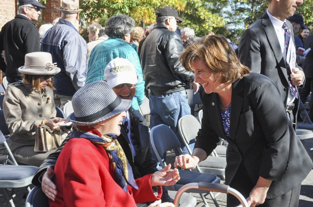 Marybeth Connelly (left) greets Emilia Siciliano at the City of Falls Church's Veterans Day Ceremony in 2015. (Photo: News-Press)