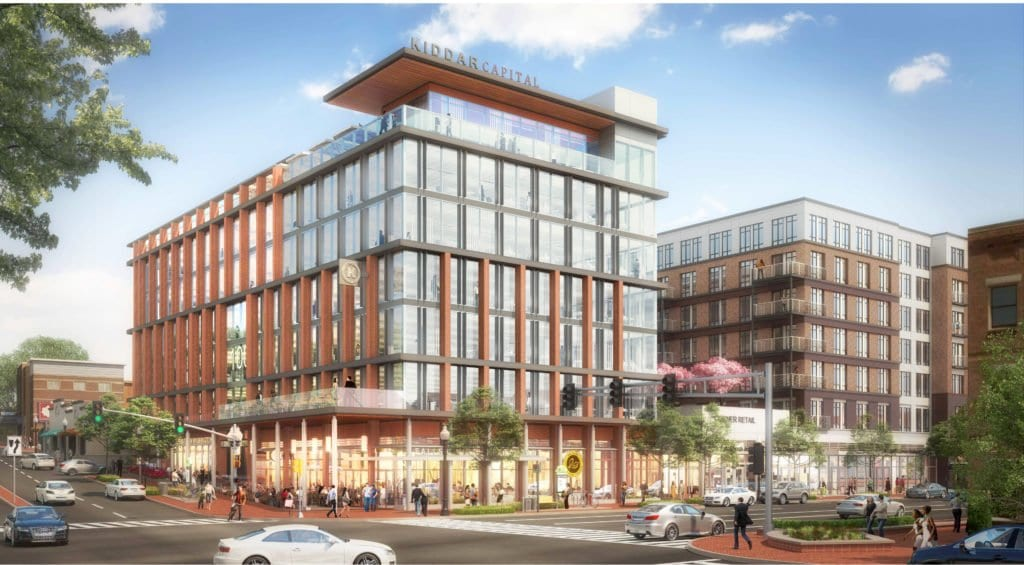 THIS ARTISTIC RENDERING of the new project being proposed for the northeast intersection of Washington and Broad in the center of the City of Falls Church shows the Class A office building (foreground) and apartment building (to the right on E. Broad), ground floor retail and rooftop amenity.  (Photo: courtesy Kiddar Capital)