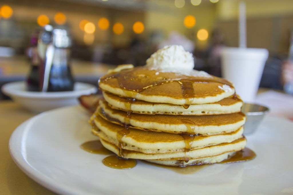 A stack of buttermilk pancakes, the most popular of 15 kinds, at The Original Pancake House.