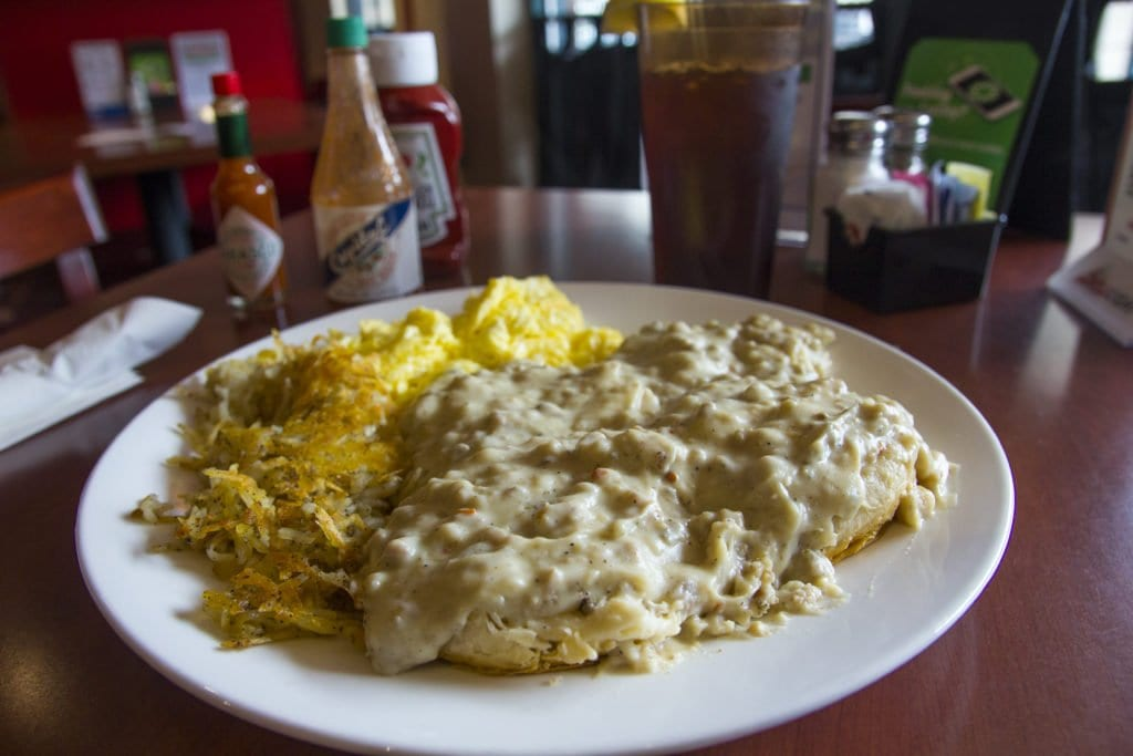 The hearty plate full of biscuits and sausage gravy at The Locker Room.