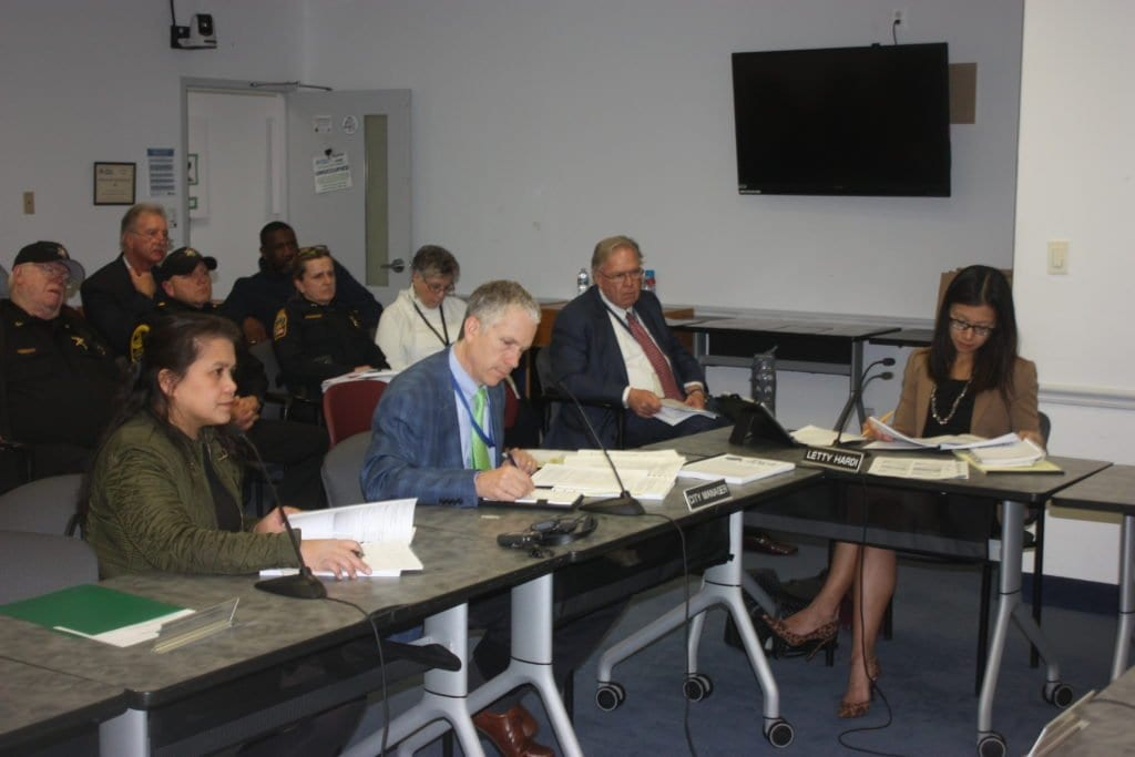 FALLS CHURCH CITY MANAGER Wyatt Shields (seated, center) spelled out parameters of his recommended FY18 budget to a work session of the F.C. City Council Monday night. (Photo: News-Press)