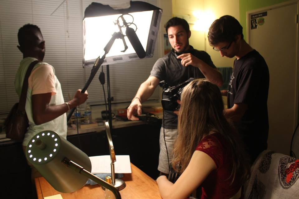 """Max Kaplow (center) during production of his 1st place short film,""""The Date."""" (Photo: Bita Ghassemi)"""