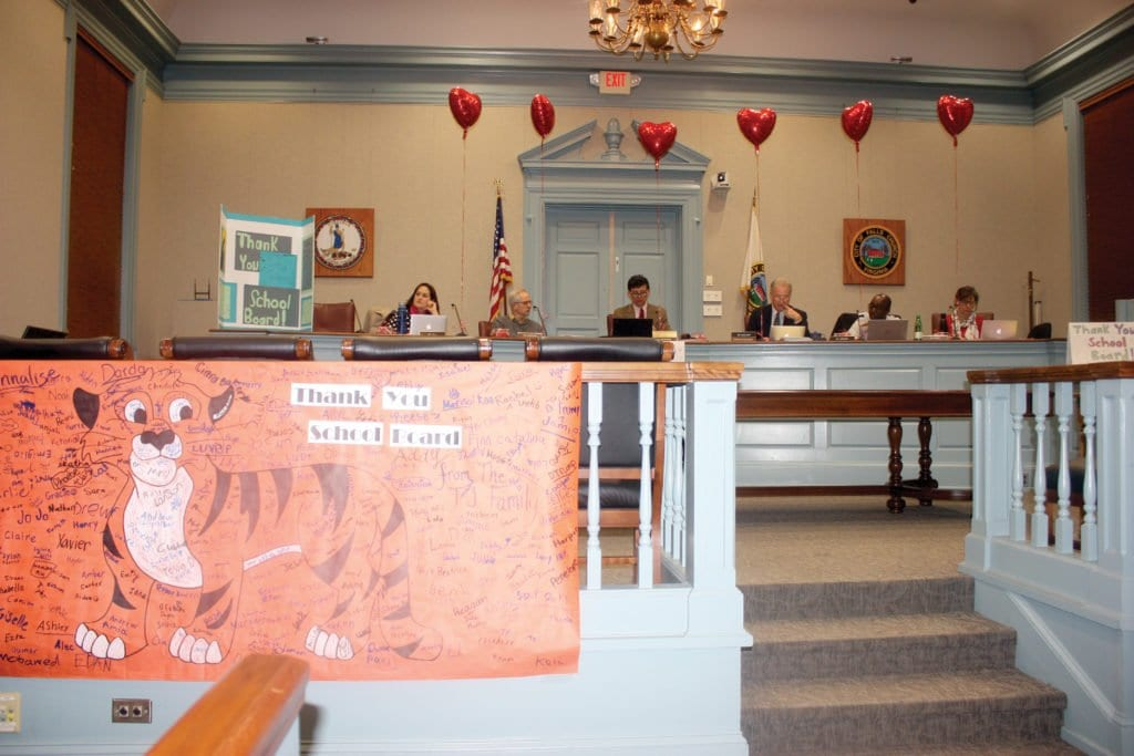 VALENTINE'S DAY LOVE from students in the Falls Church Public School System to its School Board members was on display at Tuesday's School Board meeting. (Photo: News-Press)