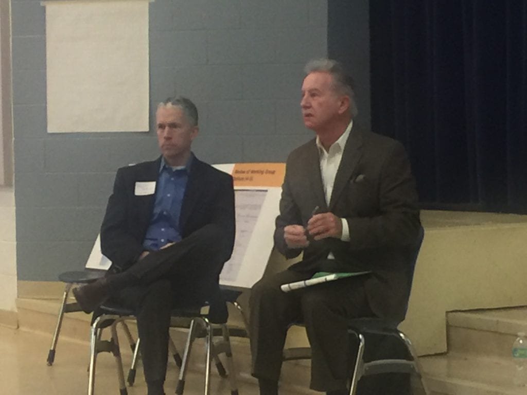 FALLS CHURCH City Manager Wyatt Shields and Interim School Superintendent Dr. Robert Schiller at today's town hall (Photo: New