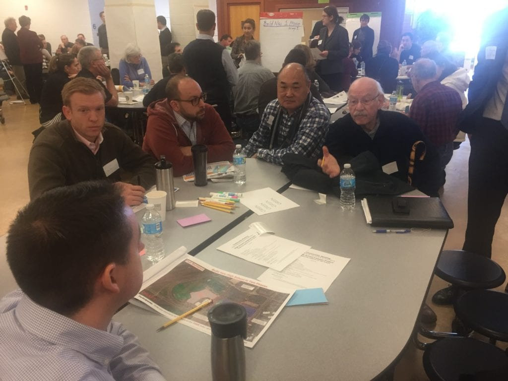 ONE OF THE MANY break out discussions at today's town hall on the future of the City of Falls Church's recently acquired 39 acres of high school land.