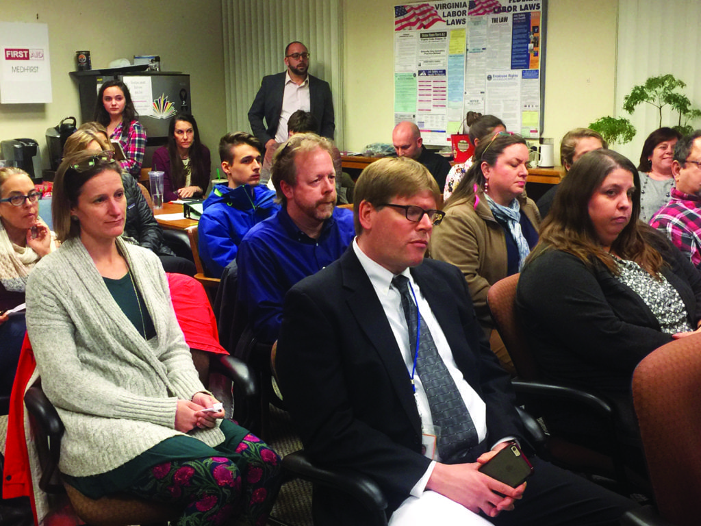 PART OF THE PUBLIC that attended Tuesday night's F.C. School Board budget hearing and meeting at the Schools' central office. (Photo: News-Press)