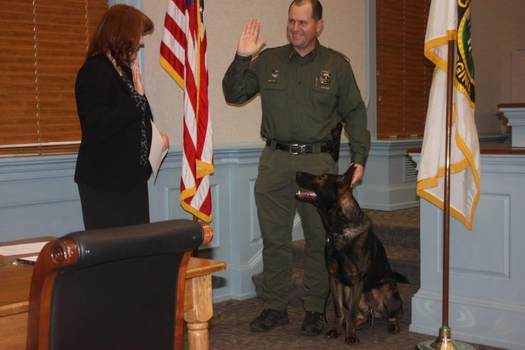 FITZ takes the oath administered by City Clerk Celeste Heath. (Photo: News-Press)
