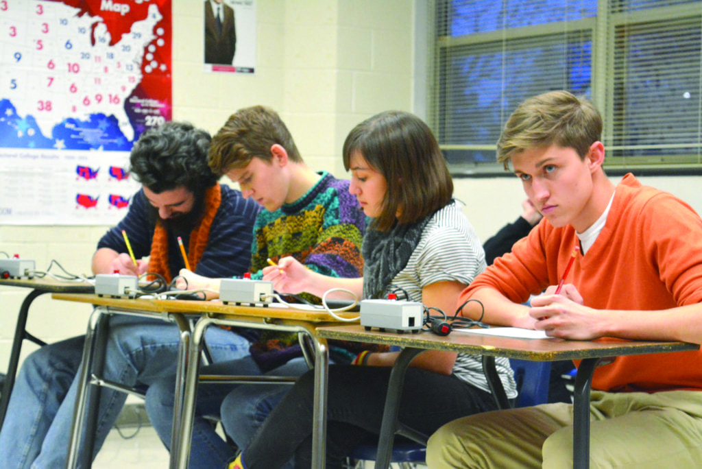 LEADING SCORERS ON GEORGE Mason's Scholastic Bowl team Monday were (left to right) Jimmy Ferguson and Joseph Snitzer with help from Annie Parnell and Jack Rasmussen. Not pictured are Lindsey Stegenga, Cooper McGuire and Caleb Parnell. (Photo: Carol Sly)