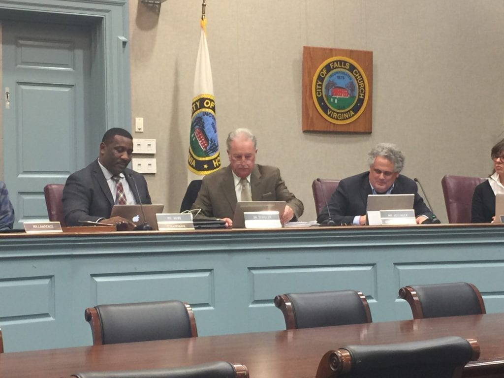 AFTER TONIGHT'S election, (left to right) new FC School Board chair Lawrence Webb, Interim Superintendent Dr. Robert Schiller and new vice chair Phil Reitinger. (Photo: News-Press photo)