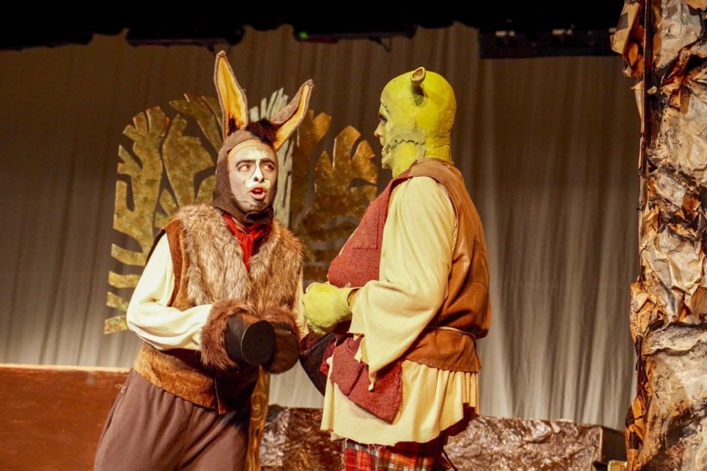 """FALLS CHURCH HIGH SCHOOL'S Patrick Kearney and Carson Hopkins played Donkey and Shrek, respectively in the school's production of """"Shrek The Musical."""" (Photo: Courtesy of Harley Hopkins)"""