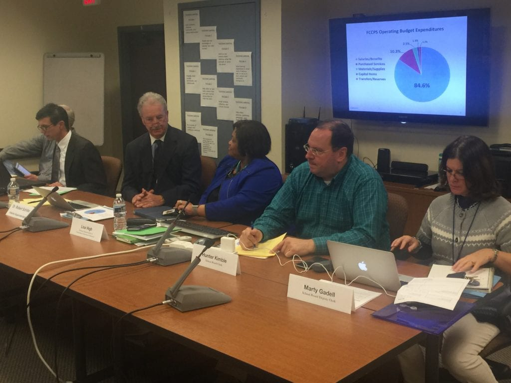 FALLS CHURCH'S new interim superintendent of schools Robert Schiller (second from left) met late into the night with the School Board as it began its budget deliberations for the coming year. (Photo: News-Press)