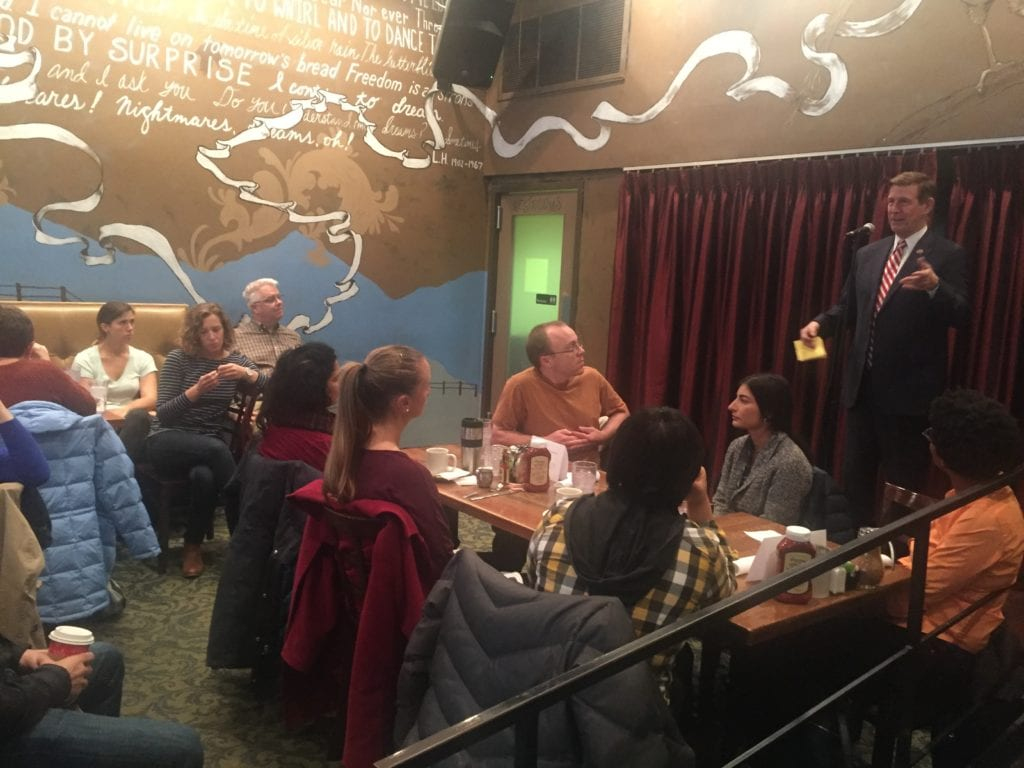 U.S. REP. DON BEYER spoke to a standing room only crowd about the aftermath of last month's presidential election in Shirlington Saturday morning. (Photo: News-Press)