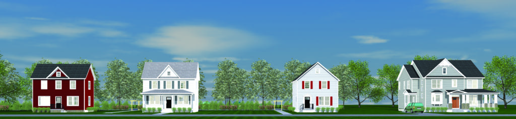 A MOCKUP OF THE 300 BLOCK OF MAPLE AVENUE that includes the proposed Snyder house (far right). (Courtesy of Edie Snyder)