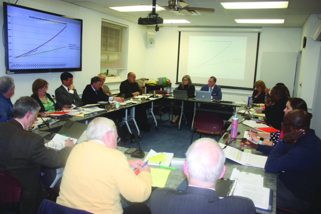 MEMBERS OF THE FALLS CHURCH City Council and School Board met again Tuesday night to tackle some of the tough questions pertaining to the campus property, including what is the size of the high school that should be built for. (Photo: News-Press)