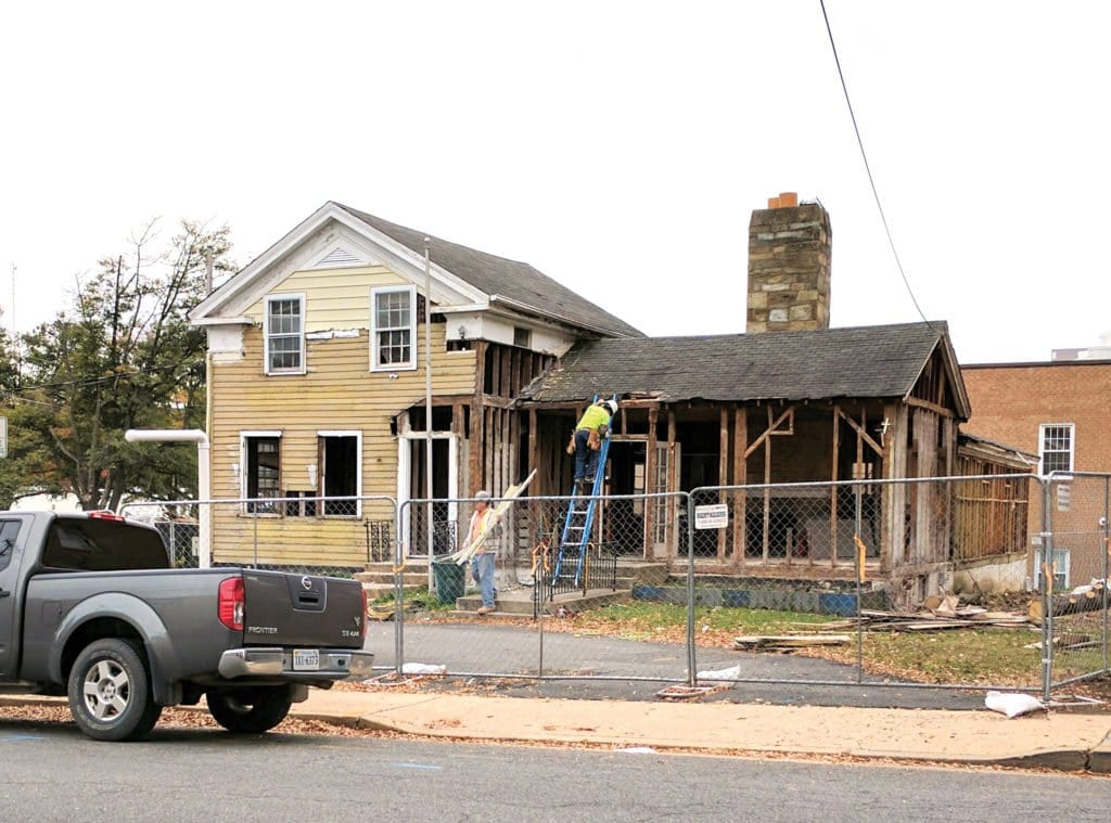 """CONSTRUCTION is underway at the """"Blue and Gray"""" building in Falls Church, future home to Northside Social. (Photo: Drew Costley/News-Press)"""