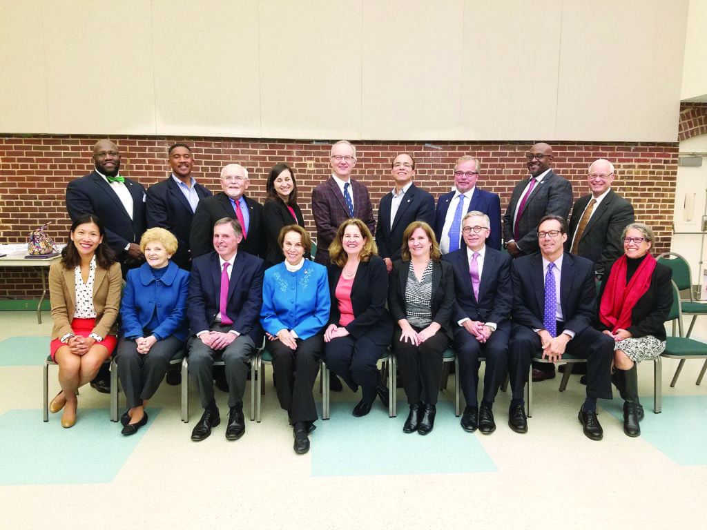 GATHERED FOR A GROUP shot at the conclusion of Tuesday night's historic meeting were elected officials from the City of Falls Church, City of Alexandria and Arlington County. (Courtesy Photo: City of Falls Church)