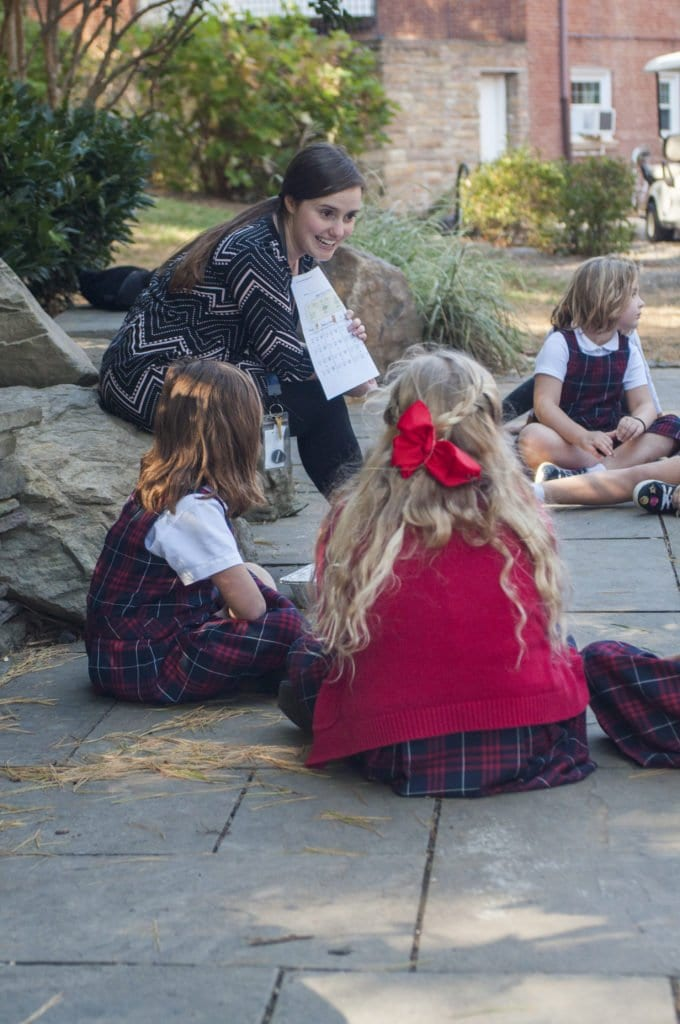 ONE OF THE KINDERGARTEN CLASSES took their learning outside recently. (Photo: Drew Costley/News-Press)