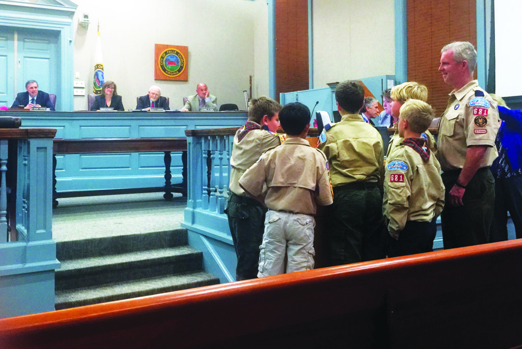 BOY SCOUT MEMBERS OF DEN 5, Pack 681 at St. James School weighed in for better traffic calming and pedestrian safety measures in their appearance before the Falls Church City Council Monday night. (Photo: News-Press)