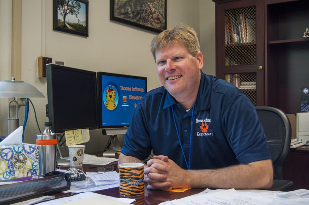 NEW TJ PRINCIPAL PAUL SWANSON is leading a school that is twice the size of the one that he led last year. He acknowledges that challenge but said that he isn't worried that any of the students at the school will fall through the cracks. (Photo: Drew Costley/News-Press)
