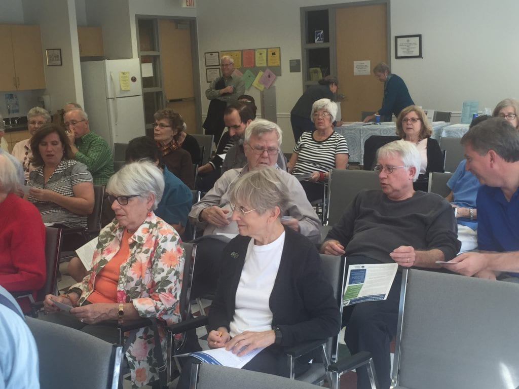 OUT ON A pleasant Sunday afternoon to attend a forum on the library referendum on the Nov. 8 ballot were these interested Falls Church citizens. (Photo: News-Press)