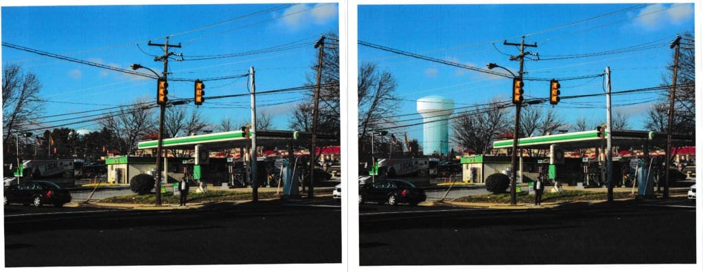 BEFORE AND AFTER. A  rendering of what a new water tank (right) would look like in the City of Falls Church, viewed from the corner of Roosevelt and Wilson Blvd. (Courtesy: Fairfax Water Authority) (left)