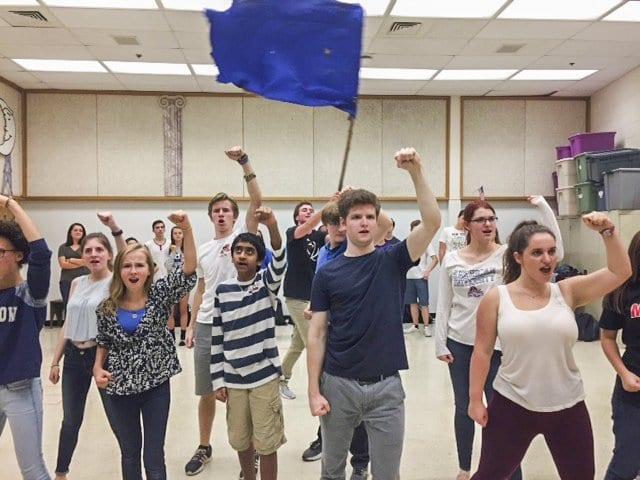 "MASON STUDENTS REHEARSE A SCENE from ""Urinetown,"" its fall production which premiers on Thursday, Nov. 17. George C. Marshall High School kicks off the season on Thursday, Oct. 13. (Photo: Courtesy of Rachel Skomra)"