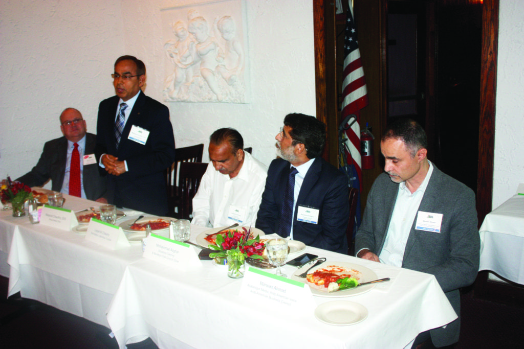 FOUR MUSLIM OWNERS of area businesses spoke about their challenges to the monthly luncheon of the Falls Church Chamber of Commerce Tuesday, convened by the Chamber's Diversity Inclusion Effort led by local CPA Michael Diener (far left). (Photo: News-Press)
