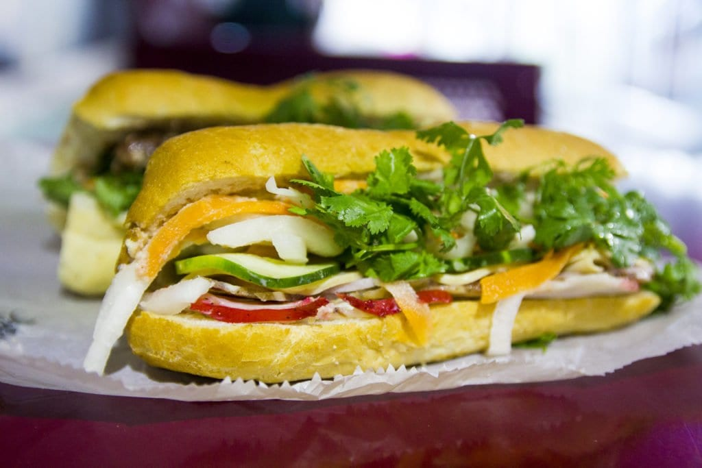 The combination bánh mì at Huong Binh is a mix of Vietnamese ham, headcheese, pate and pickled veggies. (Photo: Jody Fellows)
