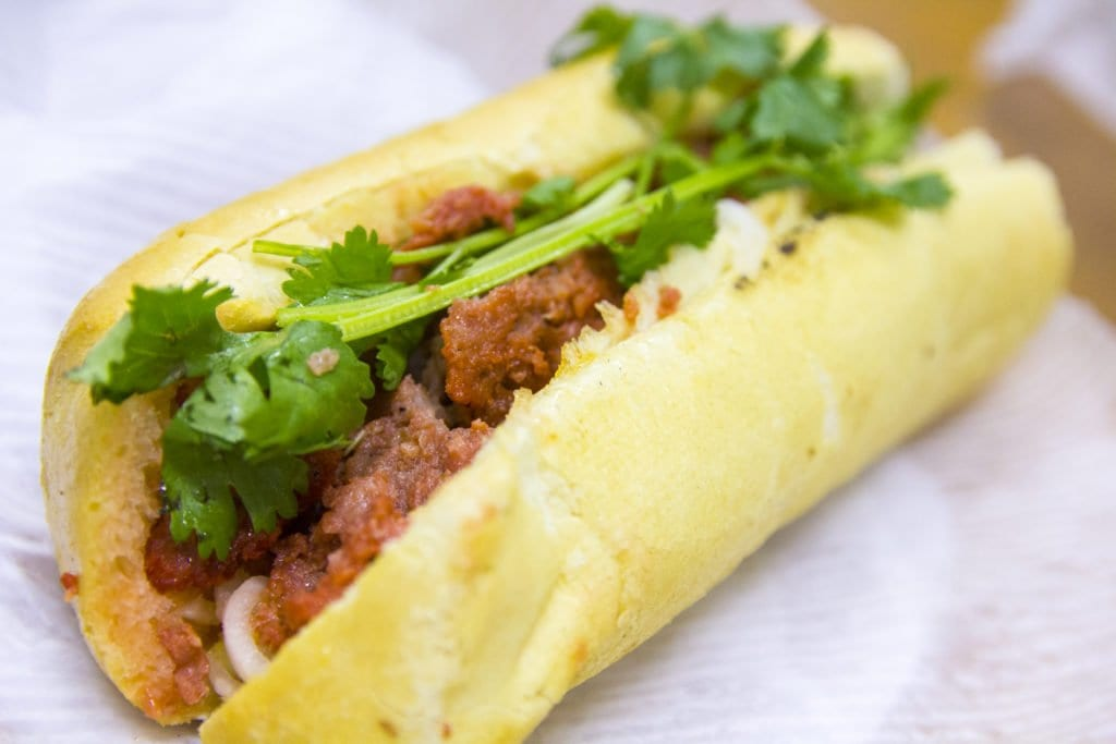 Nuh Lan's xiu mai, or Vietnamese meatballs, is one of the best sandwiches in all of Eden Center. (Photo: Jody Fellows)