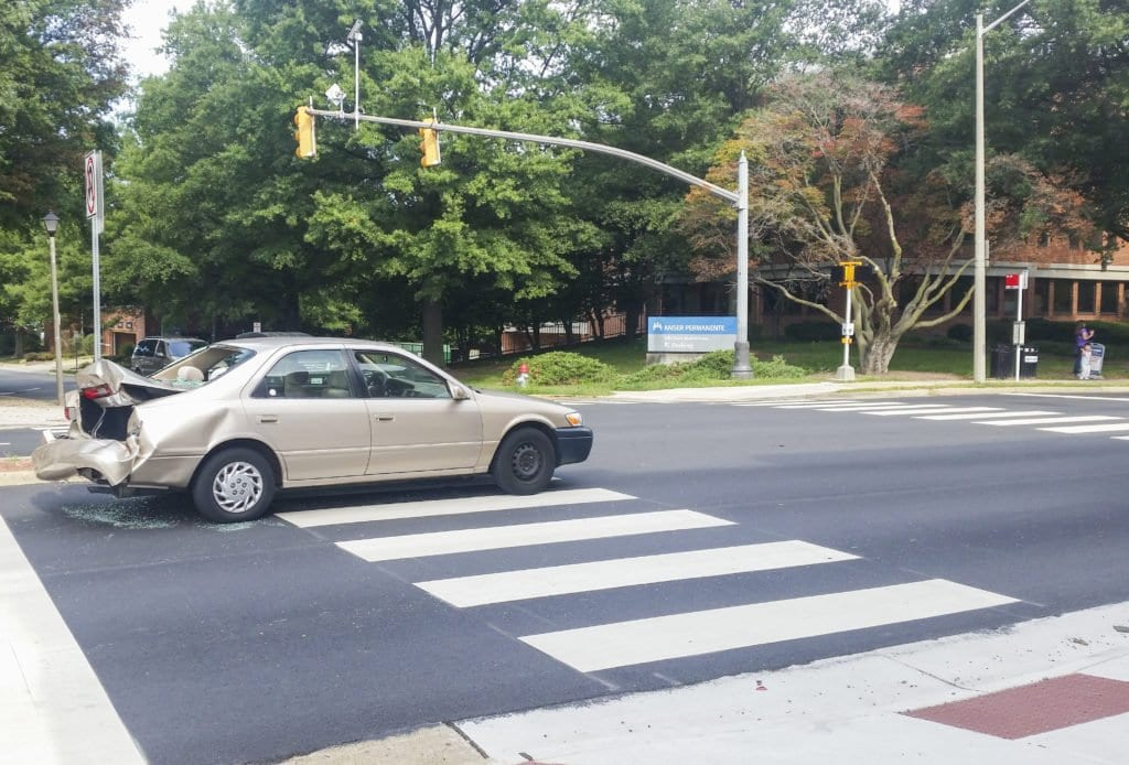 One of the cars in the two-car collision that occurred in Falls Church on Friday, Sept. 9. (Photo: Drew Costley/News-Press)