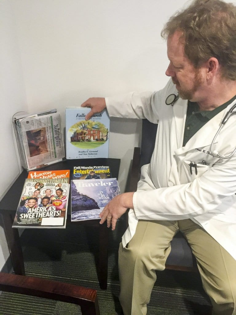 Dr. Gordon Theisz has the best selection of waiting room reading material in The Little City. Photo: Nicholas F. Benton
