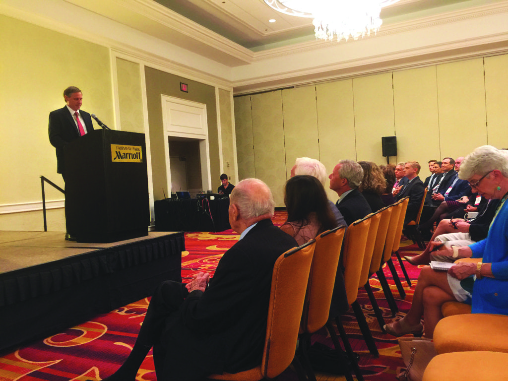 FALLS CHURCH MAYOR David Tarter addressed a few hundred commercial real estate professionals at a symposium on regional economic development Wednesday morning. (Photo: News-Press)