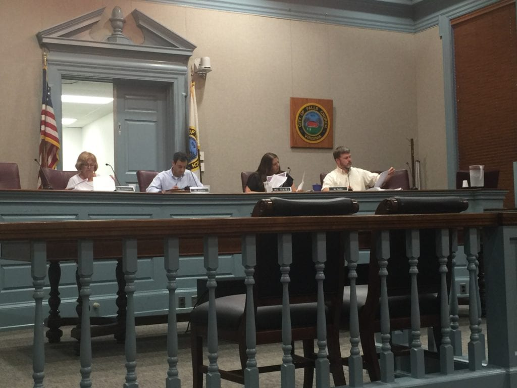 ONLY FOUR MEMBERS of the Falls Church Planning Commission were present for its business meeting Monday night, but enough for a quorum to conduct official business. Present were (left to right), Lindy Hockenberry, acting chair Russ Wodiska, Melissa Teates and Andy Rankin. (Photo: News-Press)