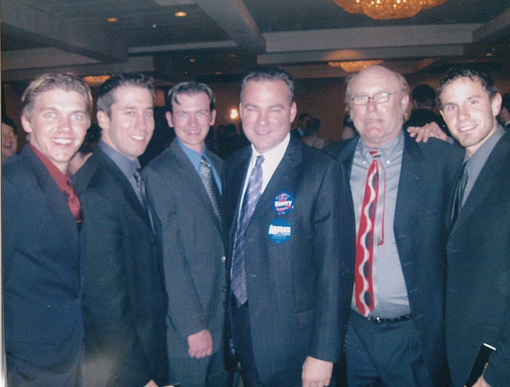 DEMOCRATIC VICE PRESIDENTIAL nominee Tim Kaine (center) hung out with Falls Church News-Press staffers at a regional Kennedy-King Dinner when he was governor of Virginia. Left to right: Darien Bates, Managing Editor Jody Fellows, Mike Hume, Kaine, FCNP Owner-Editor Nicholas Benton and Simon VanSteyn. (Photo: News-Press)