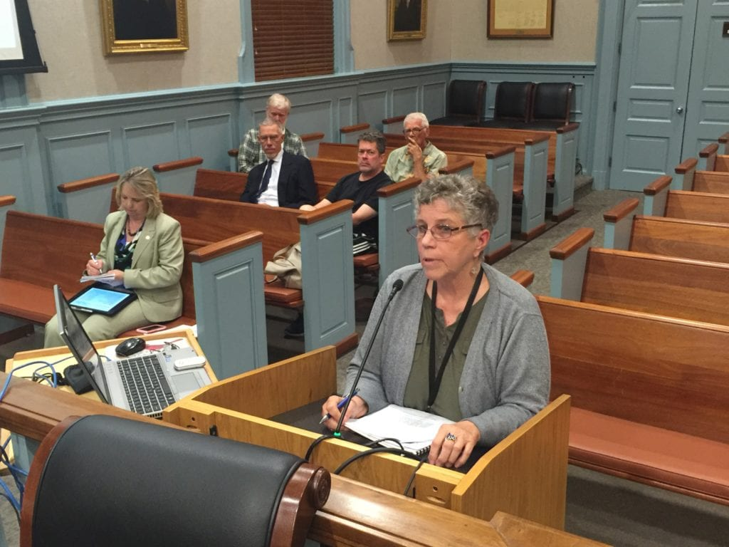 MARY MCMAHON, senior librarian at the Mary Riley Styles Public Library, is shown making the case of $8.7 million in needed renovations and expansion of the library before the F.C. City Council tonight, while members of the Library Board are seated together behind her. (Photo: News-Press)