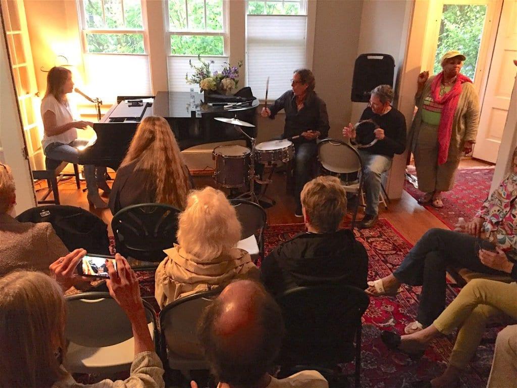 The in-home concert by Deanna Bogart raised $2,000 for the Tinner Hills Blues Festival. (Photo: Courtesy of Foxcraft Design)