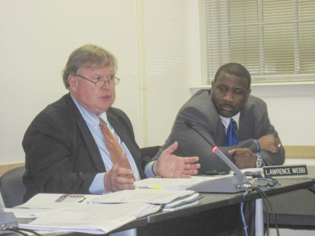 FALLS CHURCH Planning Director Jim Snyder (left) and School Board member Lawrence Webb (right) involved in the deliberations on whether to change course on the campus development project. (Photo: News-Press)