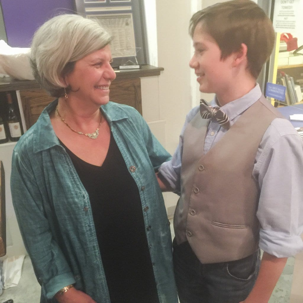 "Creative Cauldron board chair Gina Caceci chats following a performance last Saturday night with middle schooler Ethan Van Slyke who has a major role in ""Caroline, or Change."" (Photo: News-Press)"