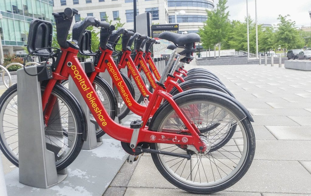 The Capital Bikeshare station in Virginia Square in Arlington is one several stations that have been installed throughout the Washignton, D.C. region since the initiative launched in 2010. Falls Church is planning on opening bicycle sharing stations in 2017. (Photo: Drew Costley/News-Press)