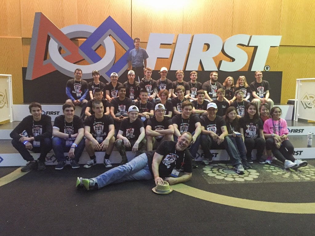 MASON'S FIRST ROBOTICS Team 1418 poses together at the FIRST Robotics World Championships in St. Louis. (Courtesy Photo)