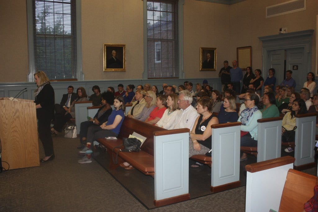 A STANDING ROOM ONLY CROWD voiced anger with the Falls Church School Board on Tuesday, May 3, over the board mulling $1 million in cuts. (Photo: News-Press)
