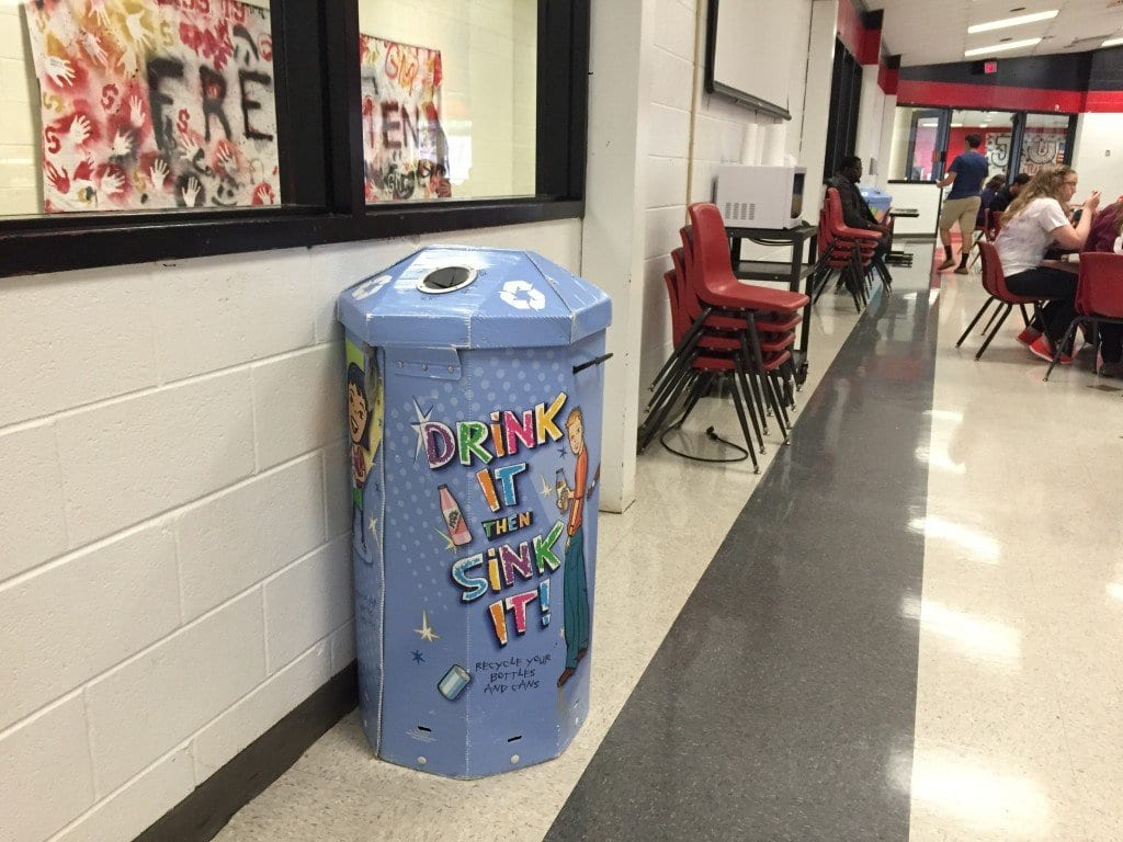 This recycling container is one of two in the cafeteria. They are both in the back, next to the microwaves. (Photo: Caroline Perez)