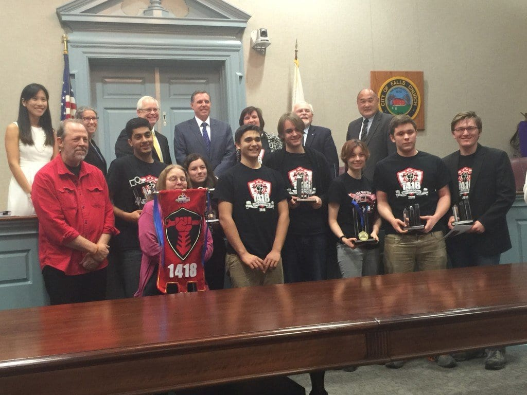 THE FALLS CHURCH City Council welcomed the George Mason High School's regional champion robotics team that will now go to the world championships in St. Louis later this month. (Photo: News-Press)