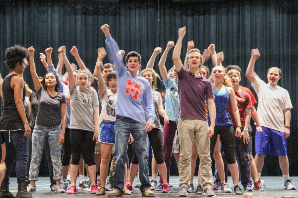 """THE CAST OF MARSHALL HIGH SCHOOL'S """"Loserville,"""" rehearse for the production. (Photo: Courtesy of Jason Tamborini)"""