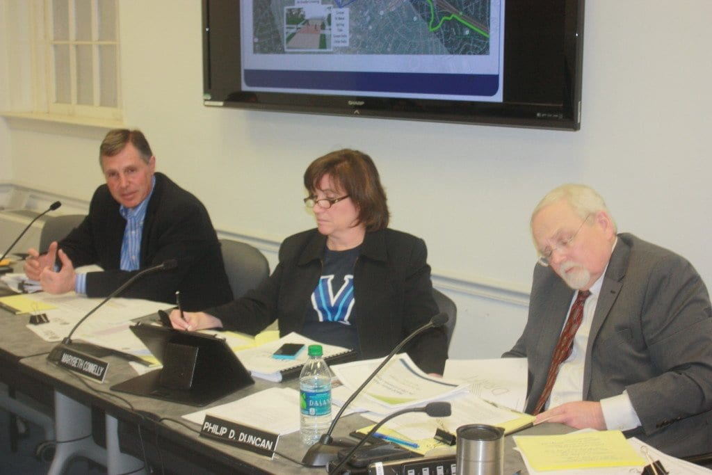 A LENGTHY FALLS CHURCH City Council budget work session Monday night kept F.C. Vice Mayor Marybeth Connelly tied to her duties displaying her loyalties to her alma mater Villanova even as her beloved Wildcats were marching to an NCAA Men's Basketball National Championship. We hope she got out of there at least in time to see the 'Cats buzzer-beating winning basket. (Photo: News-Press)