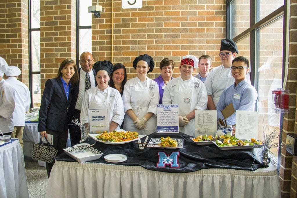 MARSHALL HIGH SCHOOL'S CULINARY ACADEMY won the Real Food for Kids Culinary Challenege for the second year in a row on Saturday, March 12 at Robinson High School. The photo above shows the winning team with the competition judges. (Photo: Courtesy of Sean Hickey)