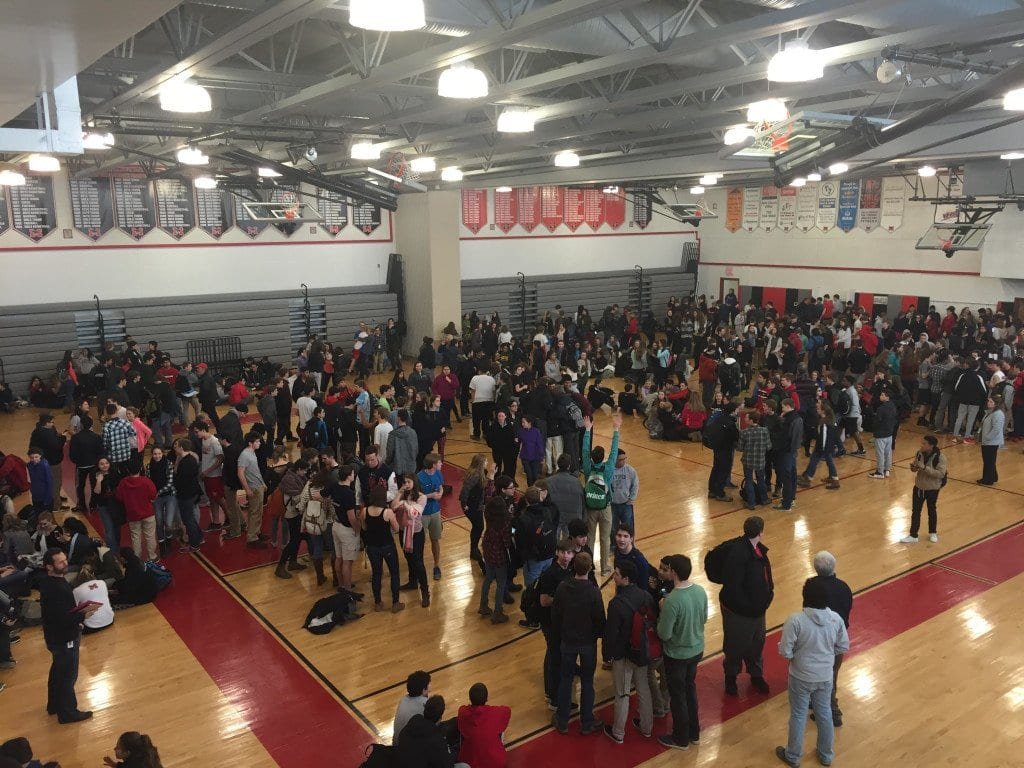 George Mason High School students were evacuated to Mary Ellen Henderson Middle School after bomb threats were made to the school last Friday, March 4. (Courtesy Photo)