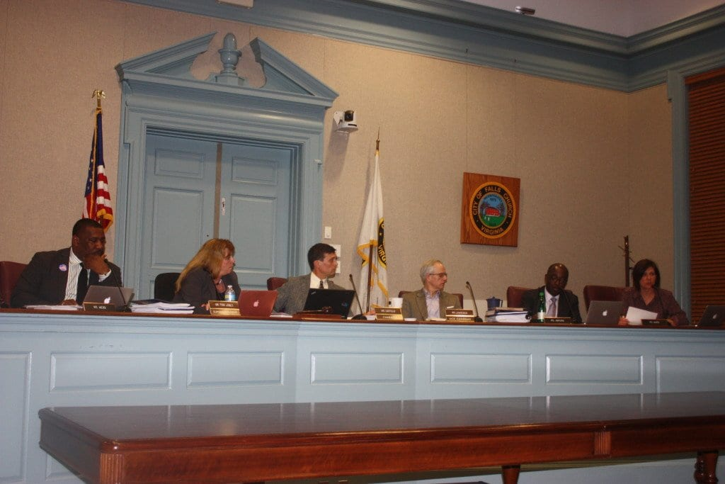 THE FALLS CHURCH SCHOOL BOARD present at Tuesday's meeting which adopted its next year's budget request is shown with Superintendent Dr. Toni Jones (second from left). (Photo: News-Press)